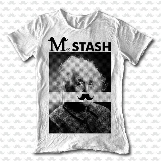 M-STASH SS15 // M01#91a - Albert // Mr. Stash series // 100% cotton flaming white round neck tshirt // #tee #mustache #fashion #tshirt