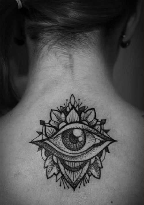 Third Eye Tattoo with Petals