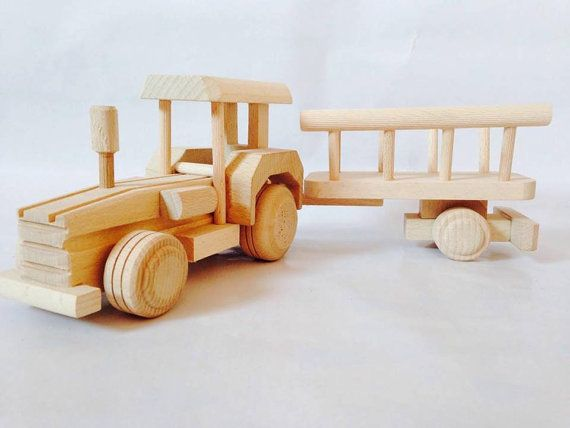 Wooden Tractor with Trailer by FriendsOfForest on Etsy
