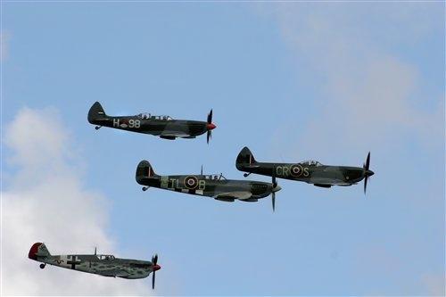 Spitfire and messerschmitt formation