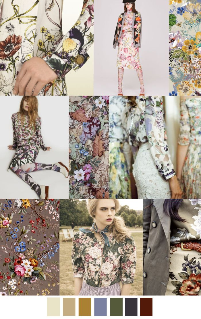 """Florals will always be a significant print across seasons, but by adding dimension, texture, and cool neutrals- the print can be transferred gradually from summer to fall.   This mood board is called """"English Garden"""", giving it a feminine and light feel with a sophisticated edge. Another trend this season is mixing prints, and this does not exclude mixing florals; in different sizes and colors. - Demi J."""