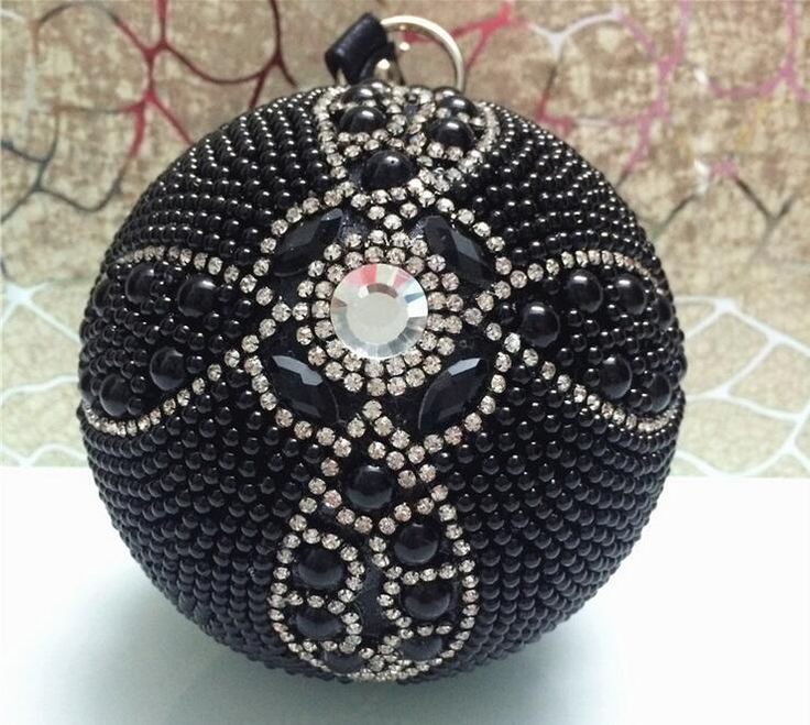 New Black Ball Bags Luxury Rhinestone Handmade Handbags Fashion Women Party Day Clutches Chain shoulder bags Evening bags