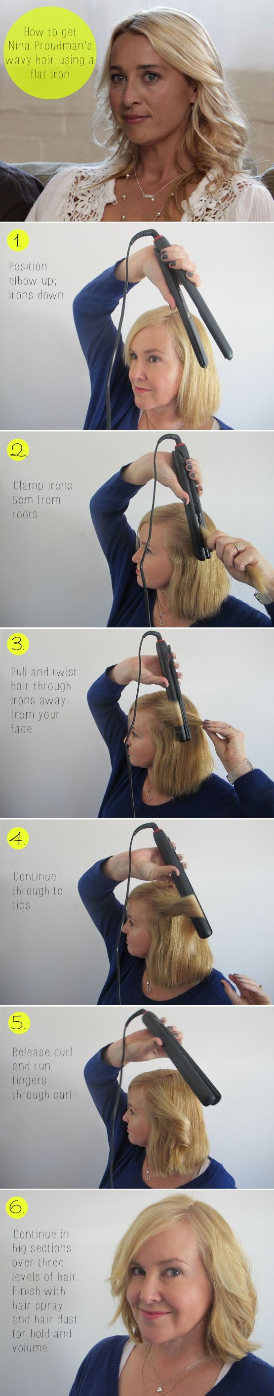 How to get Nina Proudman's wavy hair using a flat iron step by step