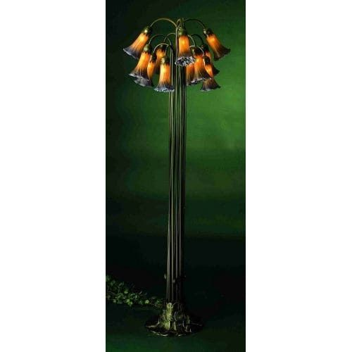 Meyda Tiffany 15946 Stained Glass / Tiffany Floor Lamp from the Lilies Collection, Amber/Purple