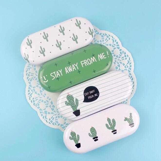 Green One Square Cactus Ellipse Glasses Case Desktop Storage Box School Office Supply Gift Stationery