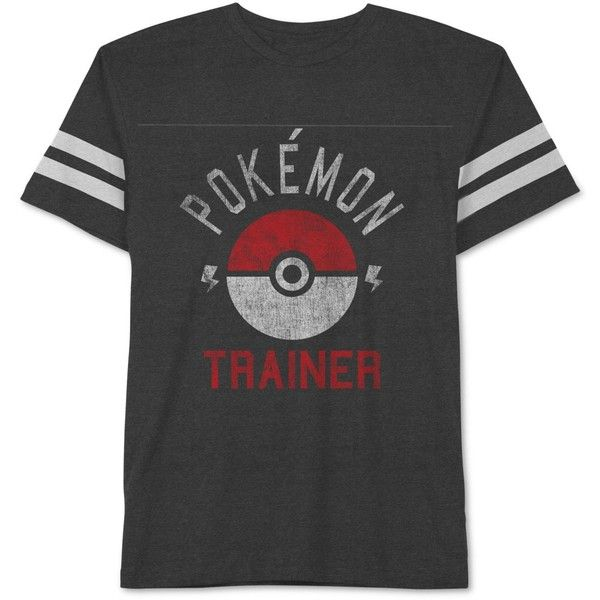 Jem Men's Pokemon Trainer Graphic-Print T-Shirt ($9.99) ❤ liked on Polyvore featuring men's fashion, men's clothing, men's shirts, men's t-shirts, men, shirts, heather charcoal, mens graphic t shirts, mens t shirts and mens crew neck t shirts