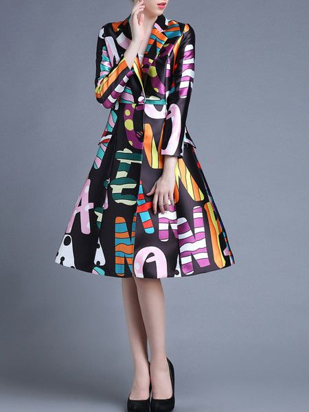 Black Printed Polyester Long coat from #stylewe