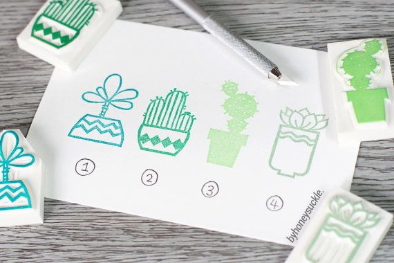 succulents stamp cactus stamp cute succulent by byhoneysuckle, $18.00