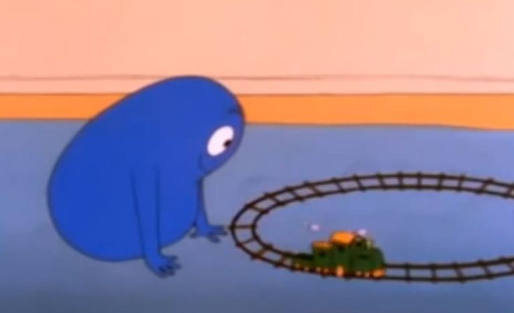 Sininen Barbapinko, joka fiilistelee tiedettä.
