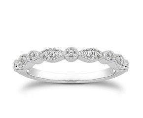 Fancy Pave Diamond Milgrain wedding ring band