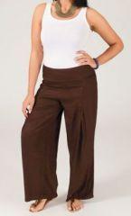 Pantalon grande taille femme taille élastiquée marron Mina sur www.akoustik-online.com