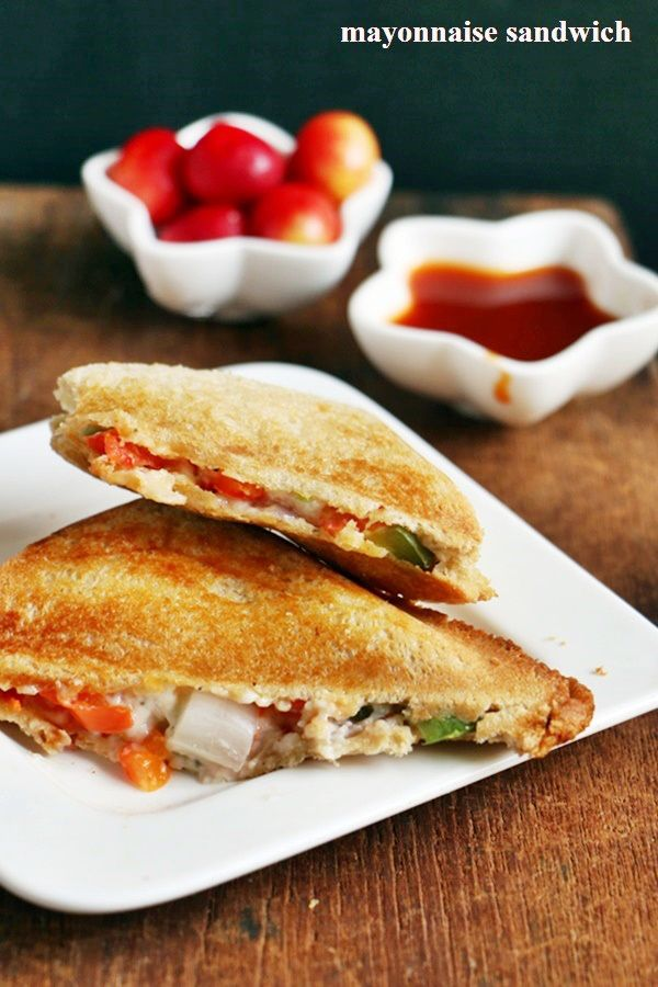 Breakfast ideas for toddlers and kids.  Eggless mayonnaise veg sandwich:  Recipe @ http://cookclickndevour.com/mayonnaise-sandwich-recipe  #cookclickndevour #recipeoftheday #recipes