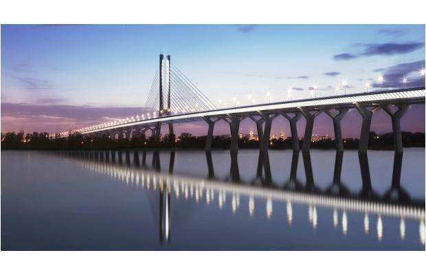The design for the proposed new Champlain Bridge is shown in an artist's rendering by Infrastructures Canada. The consortium chosen to build the bridge will have some flexibility as to materials and techniques used.