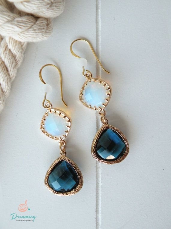 blue-white crystal golden filled earings
