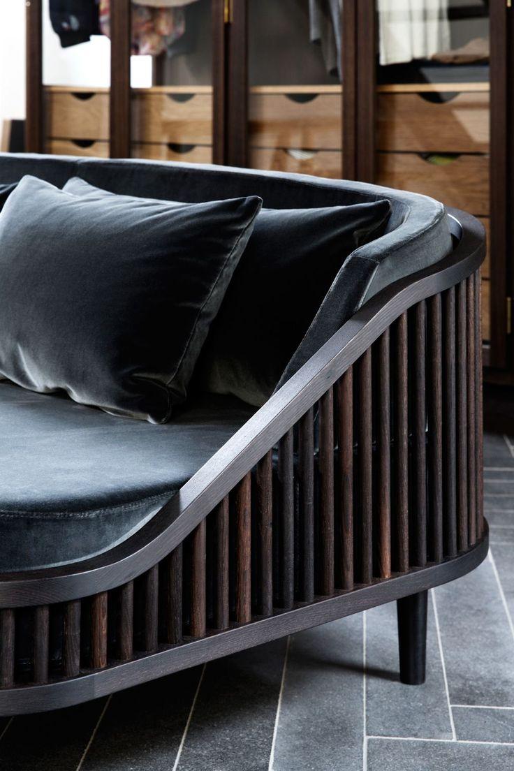 Dedar sofa in fumed oak, brass and velvet photo: Line Klein