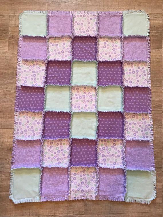 Flannel baby quilt Flannel baby blanket Purple & Mint #flannel #cotton #quilt #ragquilt #blanket #blankie #baby #infant #newborn #toddler #nursery #crib #layette #purple #mint #green #lavender #polkadots #flowers #girly #babyshower #babyshowergift #babypresent #whendoxiesfly