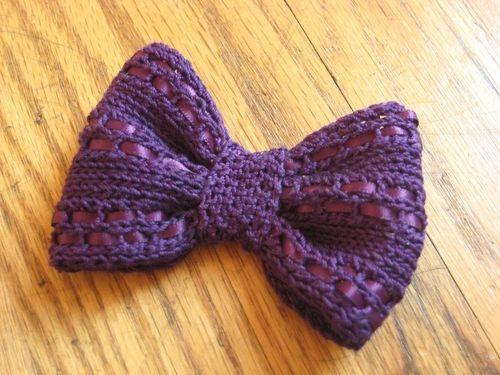 Eyelet Knit Bow. Very elegaant pattern using yarn and 1/8 inch ribbon.
