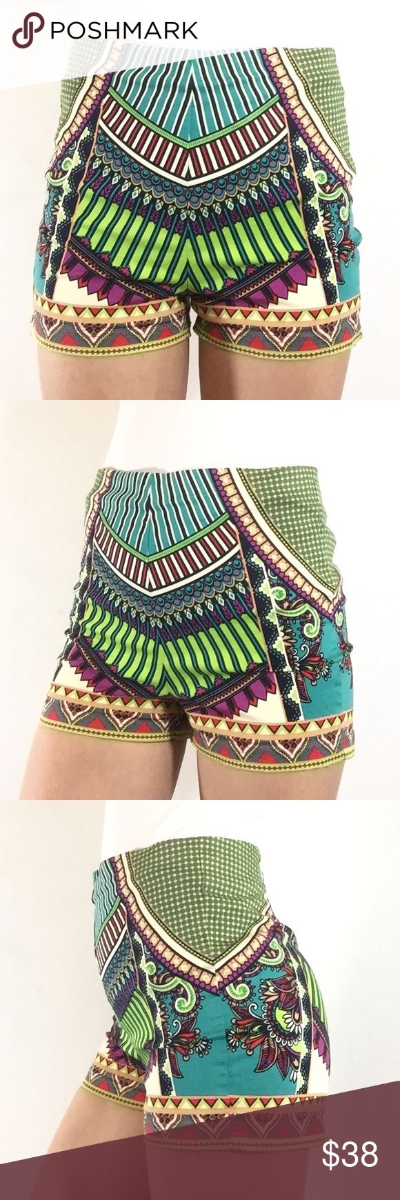 FLYING TOMATO TRIBAL AZTEC BOHO PRINT HOT SHORTS M ANTHROPOLOGY BRAND FLYING TOMATO HIGH WAISTED SHORTS WITH BEAUTIFUL TRIBAL AZTEC PRINT. SHORTS ZIP UP THE BACK AND ARE COMFY AND STRETCHY. BEAUTIFUL DESIGN. SIZE MEDIUM. PICTURES ARE OF THE ACTUAL ITEM BEING MODELED BY ME. Flying Tomato Shorts
