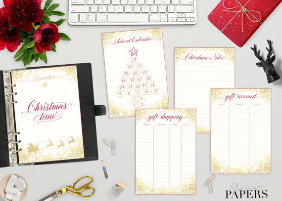 Printable A5 GOLD CHRISTMAS inserts for your A5 and Franklin planner