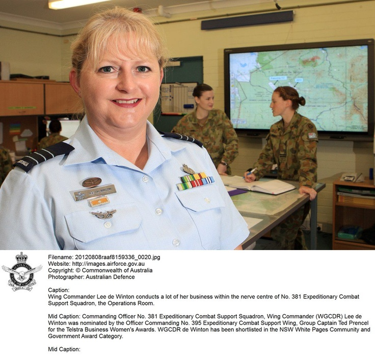 20120808raaf8159336_0020.JPG    Wing Commander Lee de Winton conducts a lot of her business within the nerve centre of No. 381 Expeditionary Combat Support Squadron, the Operations Room.  © Commonwealth of Australia