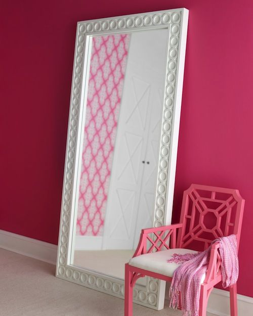Lilly furniture - great mirror and occasional chair (though as much as I love pink, I would choose a different color).