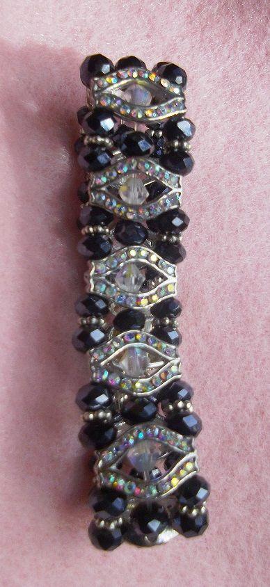 Black AB Swarovski with Clear Aurora Borealis centre Crystals 'Signature' Bracelet