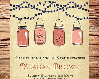 navy and coral rustic wedding shower invites