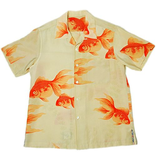 gold fish pattern aloha shirts