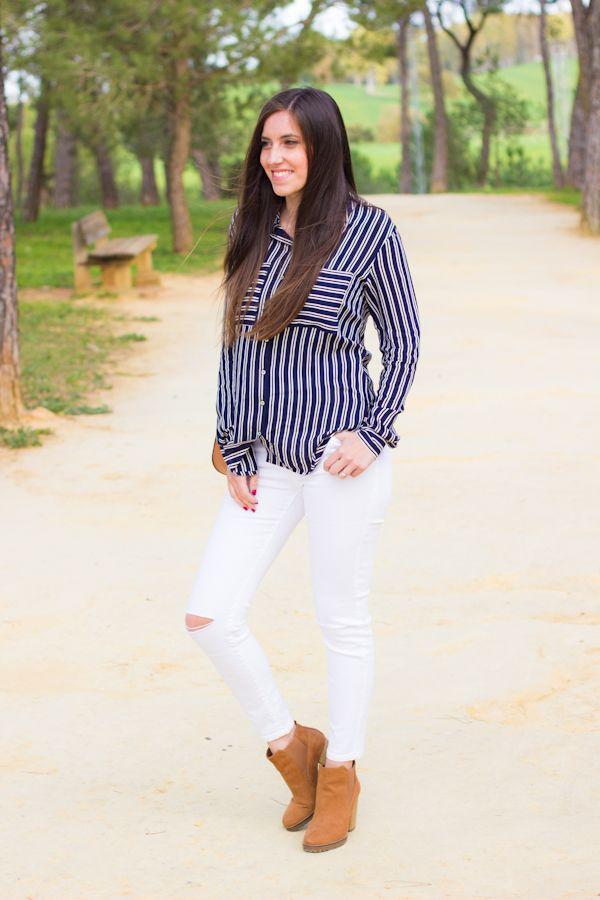 blusa de rayas en azul y blanco #kissmylook