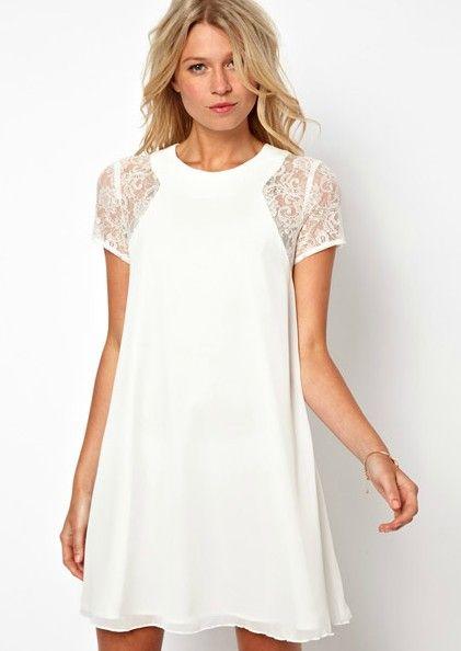 White Contrast Lace Short Sleeve Split Chiffon Dress US$34.26