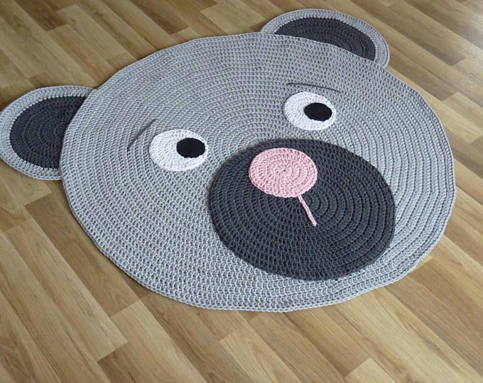 Bear Crochet Rug Bear Rug Handmade Crochet Rug Kids Rug Corchet