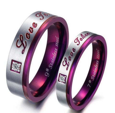 2016 Fashion CZ Crystal Jewelry Wholesale Price Purple Women's Men's Rings Forever Love Couple Wedding - LyLyStore