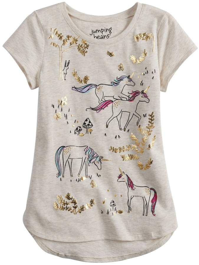 b70306149 Girls 4-12 Jumping Beans Foiled Unicorn High-Low Hem Tee #foiled#Beans# Jumping