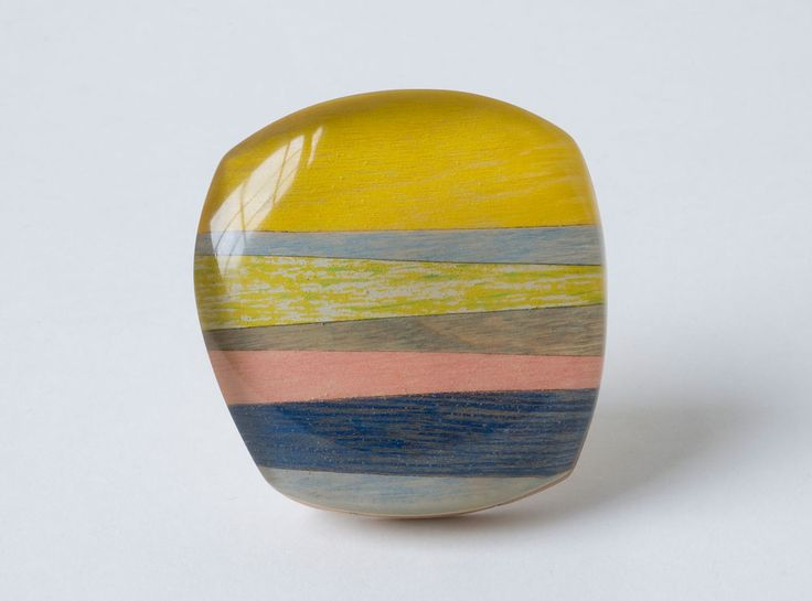 Beppe Kessler Brooch: Skyline, 2013 Silver, wood, acrylic color and fibre 7.5 x 7 x 2 cm: