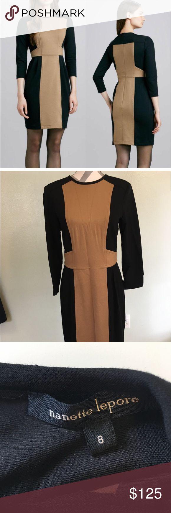 Nanette Lepore Rabat Sheath Never worn. Black and Camel Ponte.   Work or evening dress.     Long zipper in back and 3/4 sleeve. Nanette Lepore Dresses