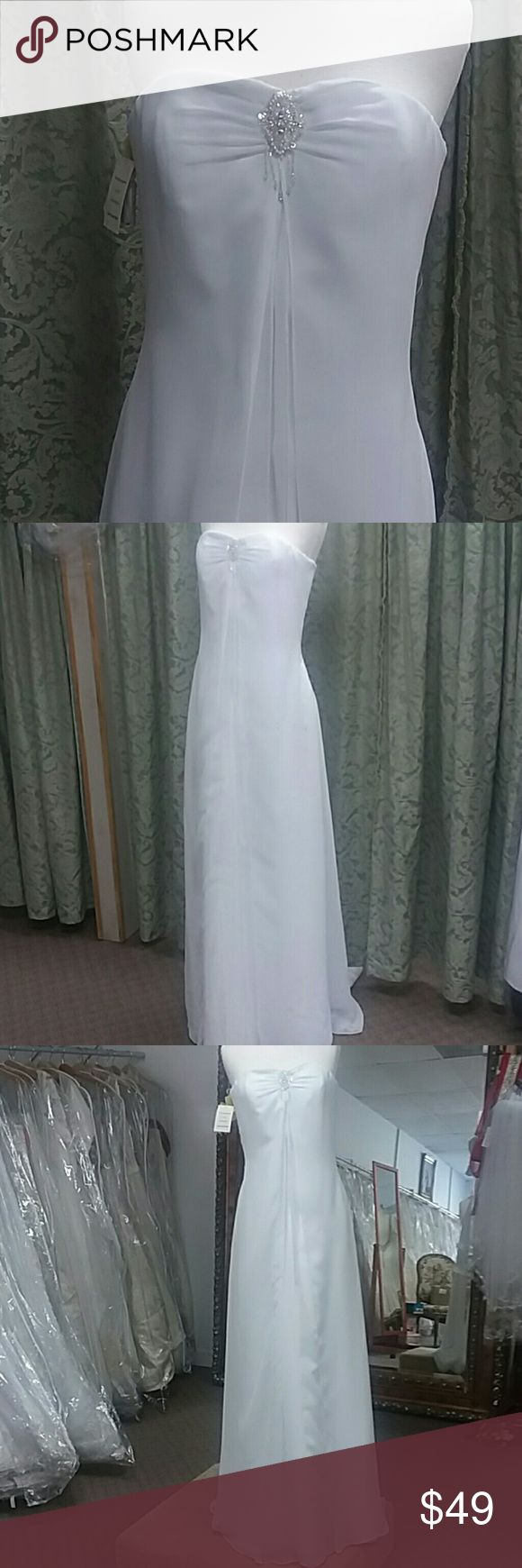 NWT Eden Bridals wedding gown Strapless chiffon wedding gown with split front. Zipper back. Small train. This was a sample gown and has been tried on but not worn. Eden Dresses Wedding