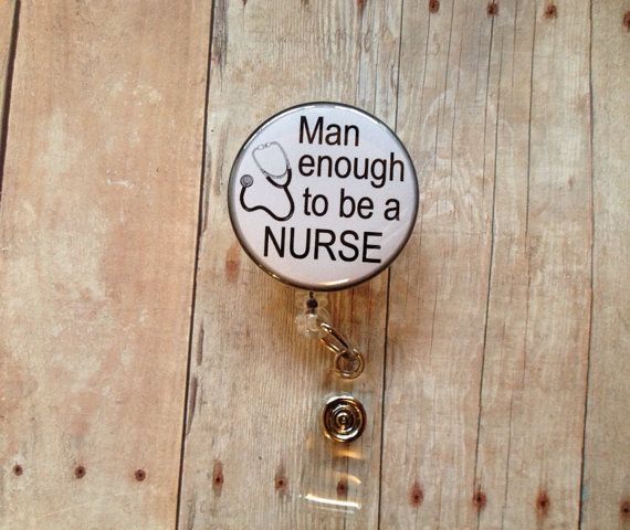 Male Nurse Retractable Name Badge Reel  by ButtonBadgereels4u, $5.90