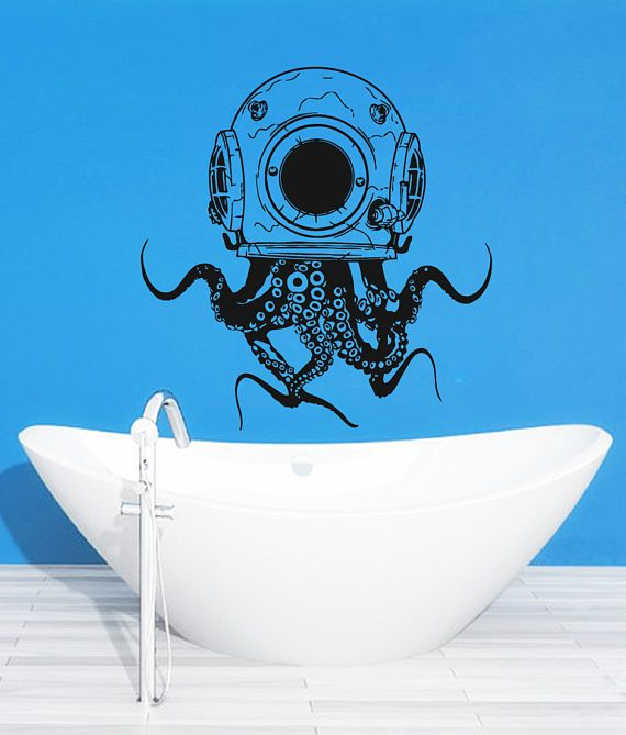 Scuba Octopus Wall Decal Scuba Octopus Wall Sticker Octopus