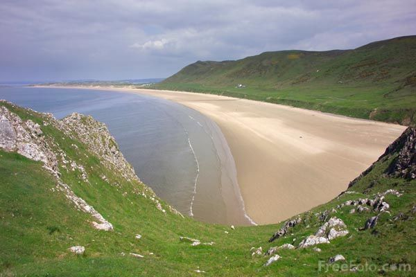 South Wales, Gower Peninsula, Rhossili Bay - best beach in Wales - miles long and great for surfing and hang gliding.