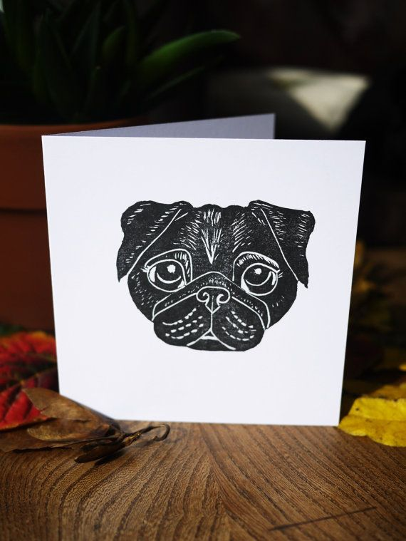 Black Pug Card Handprinted Lino Print Greeting by The Black Pug Press