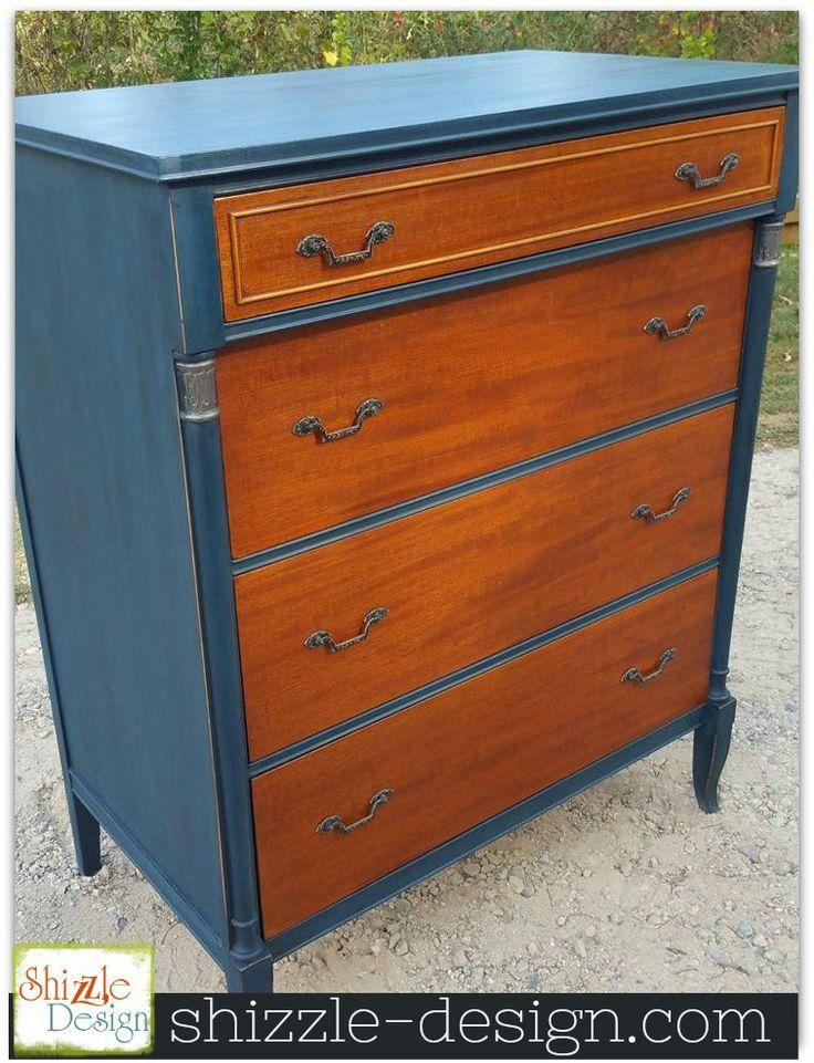 Two Tone Navy And Mahogany Dresser