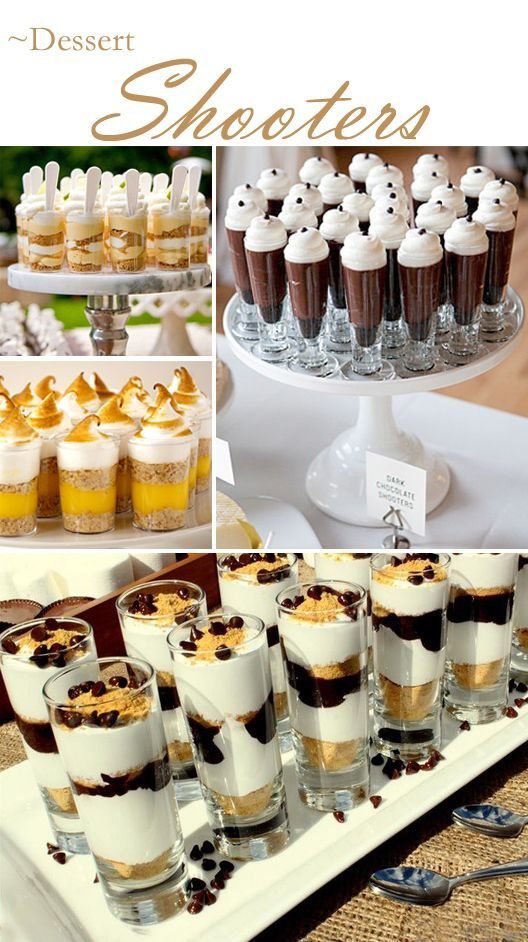 Serving party food in shooters is becoming popular for social events and wedding receptions ... from hors d'oeuvres to buffet dinners. Serving in shooters can g