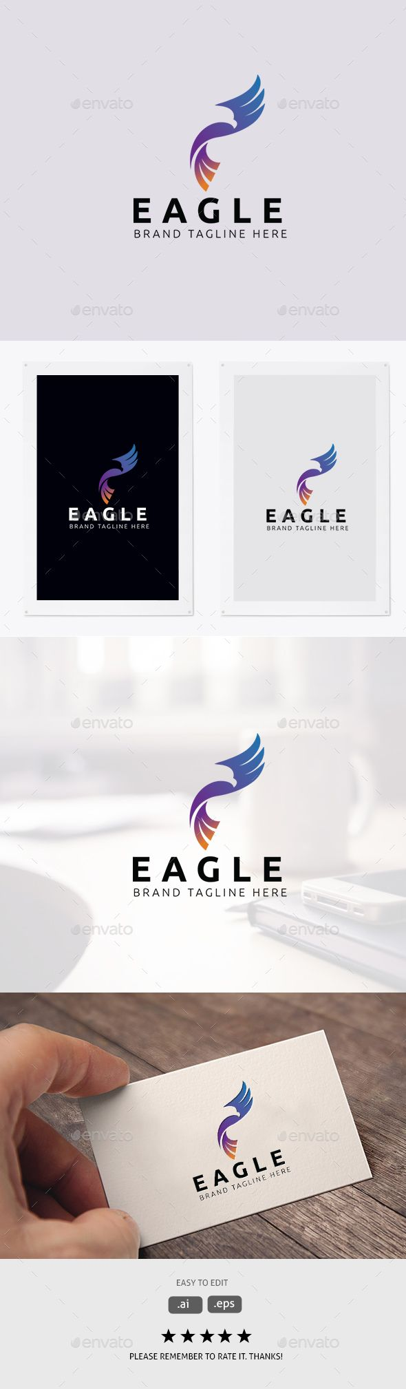 Eagle #Logo - #Animals Logo #Templates Download here:  https://graphicriver.net/item/eagle-logo/20298341?ref=alena994
