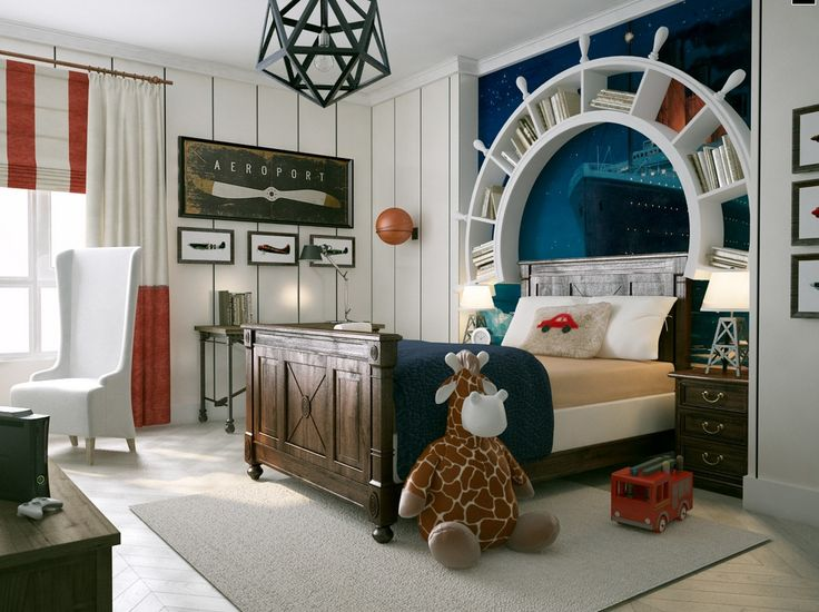 How very cool this kids room is . I love the wheel as a bookshelf..loving this for a little boy.