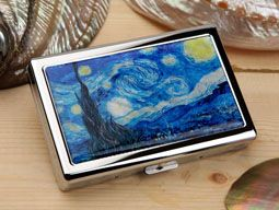 Mother of Pearl 100S King Size Cigarette Case with Starry Night by Van Gogh