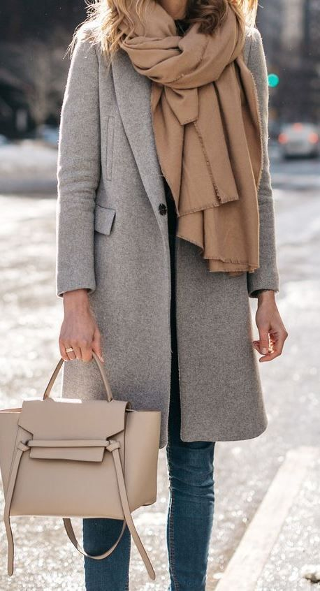 cute cozy outfit _ nude scarf + grey coat + bag + skinny jeans