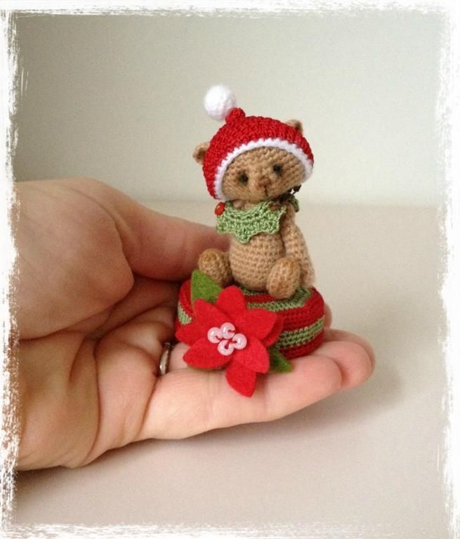 Looking for crocheting project inspiration? Check out Mini Christmas Bear & Stand by member TheTinyToyBox. - via @Craftsy ♡