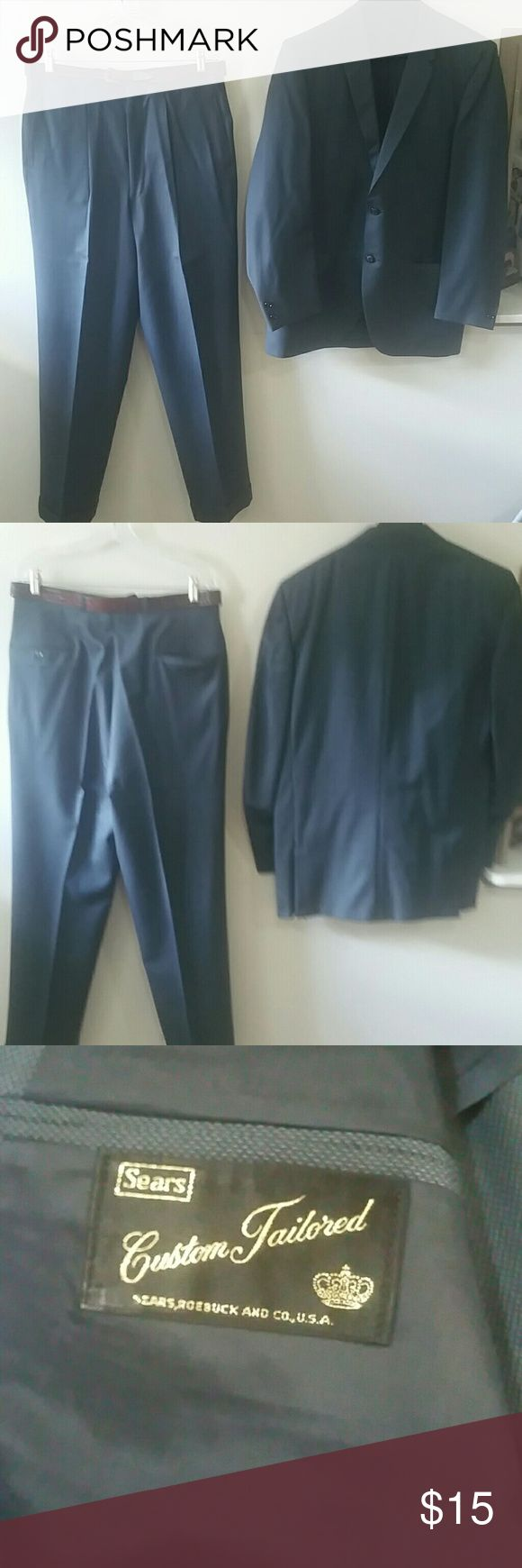 MEN'S PANTS SUIT MEN'S  CUSTOM TAILORED PANTS SUIT, SEARS POEBUCK AND CO. U.S.A. JACKET SLEEVES 25IN., SHOULDER 18IN., NECKLINE TO HEM 301/2 IN., PANTS waist 34 IN., INSEAM 32IN., TURQUOISE  BLUE SEARS AND ROEBUCK  Suits & Blazers Suits