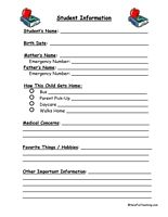 student information sheets - Fun Sheets For Students