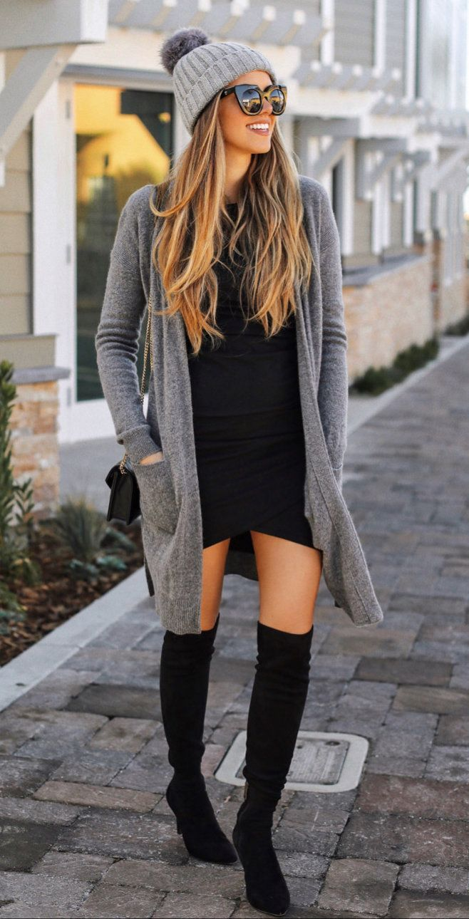#winter #outfits  gray cardigan and gray knitted bubble cap